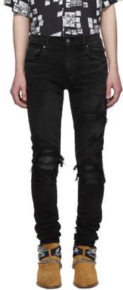 Amiri Black MX1 Leather Patch Jeans