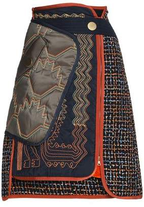 Peter Pilotto Paneled Embroidered Tweed Skirt