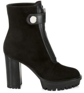 Gianvito Rossi Suede & Leather Zip-Up Lug Sole Booties
