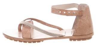 Brunello Cucinelli Monili-Accented Leather Sandals