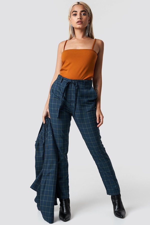 Tie Waist Checked Suit Pants Blue Check