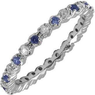 Simply Stacks Sterling Created Sapphire & Diamond Stack Ring