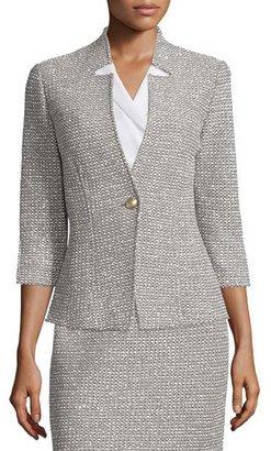 St. John Collection Moorisha Knit 3/4-Sleeve Jacket, Dark Putty $1,495 thestylecure.com