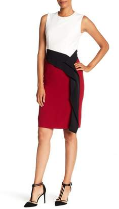 BOSS Disalana Sleeveless Colorblock Ruffle Dress