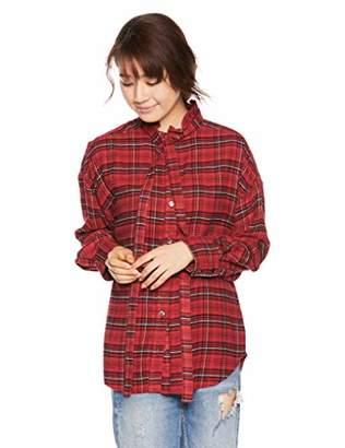 Snidel (スナイデル) - [スナイデル] バックロゴ刺繍ネルシャツ SWFB185084 レディース RED 日本 F (FREE サイズ)