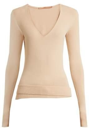Summa - Deep V Neck Fine Knit Sweater - Womens - Beige