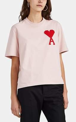 Ami Alexandre Mattiussi Women's Logo-Patch Cotton Crop T-Shirt - Pink
