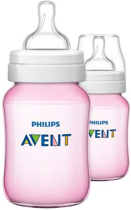 Avent Naturally Classic Feeding Bottles 260ml/9oz Twin - Pink