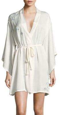 Josie Natori Floral Embroidered Robe with Eye Mask