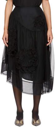 Simone Rocha Black Ruched Tulle Skirt