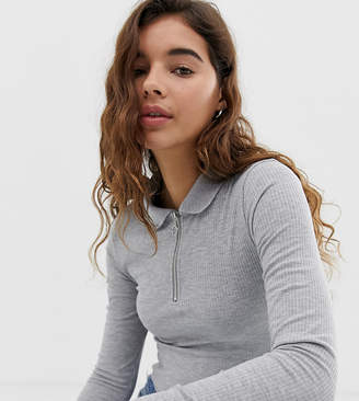 New Look polo neck top with zip in grey