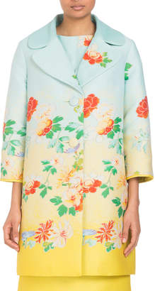 Andrew Gn Three-Button Degradé; Floral-Jacquard Coat