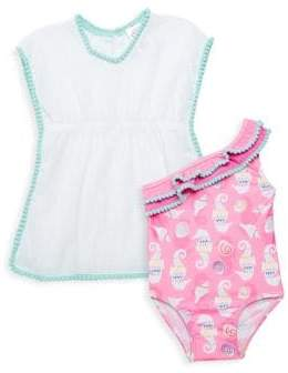 Little Girl's Two-Piece Sea Horse & Shell Swimsuit & Cotton Coverup Set