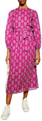 Topshop Cotton Tile Midi Dress