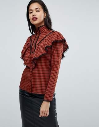 Fashion Union Check Shirt With Ruffle Layer