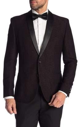 Nick Graham Burgundy Black Two Button Shawl Lapel Stretch Modern Fit Blazer
