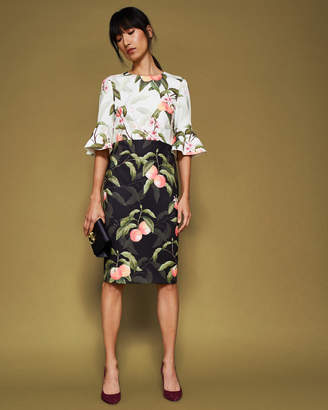 Ted Baker AREEA Peach Blossom fluted sleeve dress
