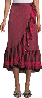 Figue Aurora Dotted Silk Satin Midi Ruffled Wrap Skirt with Floral Embroidery