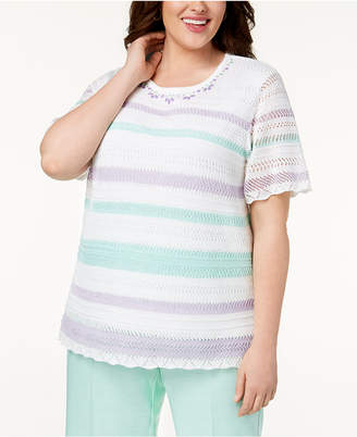 Alfred Dunner Plus Size Roman Holiday Textured Striped Sweater