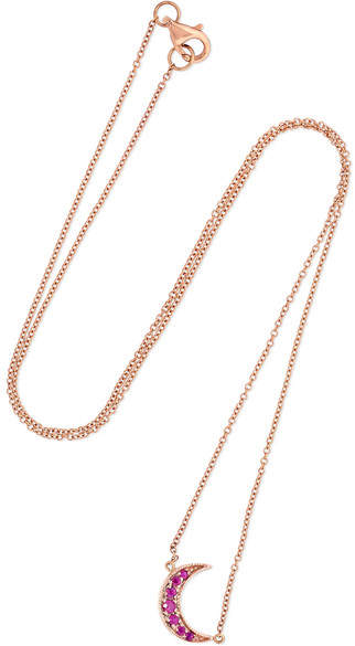 Andrea Fohrman - Mini Crescent 18-karat Rose Gold Ruby Necklace