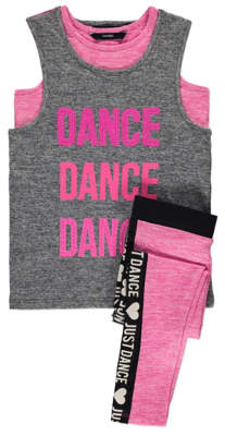 George Dance Slogan Vest, Bra Top and Leggings Outfit