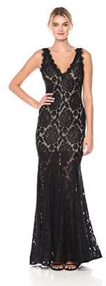 Betsy & Adam Women's V Neck Lace Gown