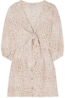 Faithfull The Brand Trinidad Tie-front Floral-print Crinkled-crepe Mini Dress - Pink