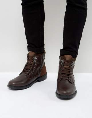 Brave Soul Lace Up Boots In Brown