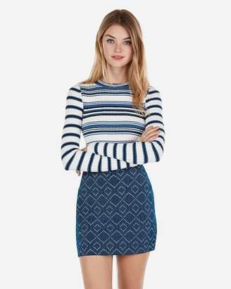 Express High Waisted Aztec Textured Knit Mini Skirt