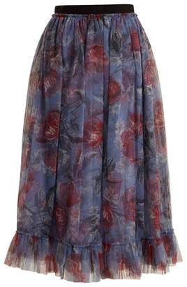 Erdem Clio Ellington Peony Print Tulle Skirt - Womens - Purple Print