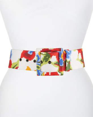 Carolina Herrera Floral Print Leather Belt