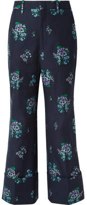 Gucci Cotton And Wool-blend Jacquard Wide-leg Pants - Navy