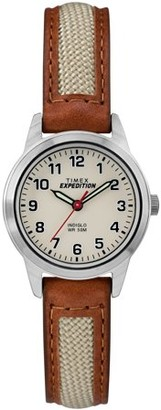 Timex Women's Expedition Field Mini Brown/Natural Watch, Nylon/Leather Strap