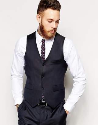 Asos Design Slim Waistcoat In 100% Wool