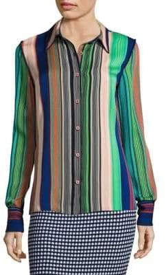 Diane von Furstenberg Long Sleeve Collared Shirt