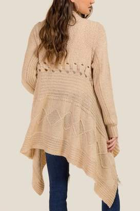 francesca's Jessica Cable Knit Boucle Cardigan - Taupe
