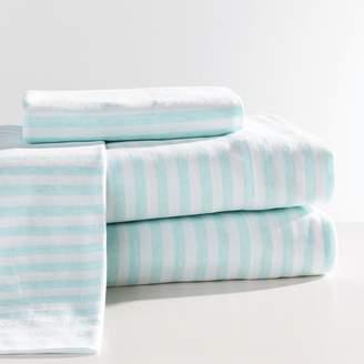 Pottery Barn Teen Classic Stripe Favorite Tee Sheet Set, Queen, Heathered Aqua/White