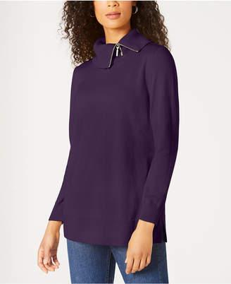 Karen Scott Cotton Zip-Neck Sweater