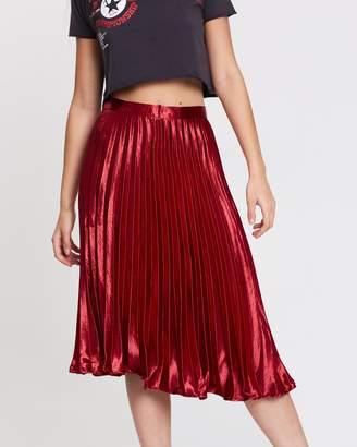 Missguided Hammered Satin Pleated Midi Skirt