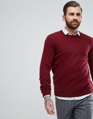 Asos Lambswool Sweater In Burgundy