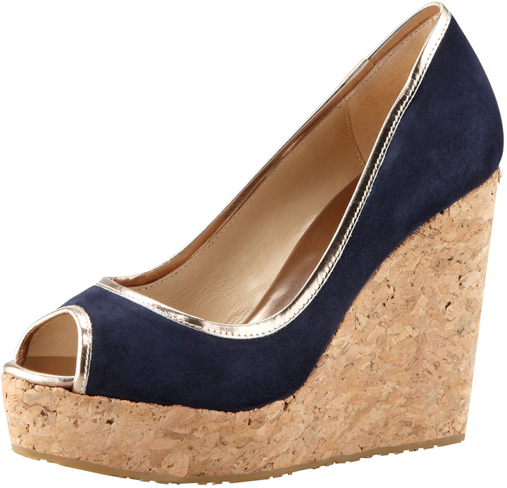 Jimmy Choo Papina Suede Cork Wedge, Navy