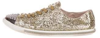 Miu Miu Cap-Toe Glitter Sneakers