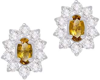 Sarah Kosta - Aphrodite Sterling Silver Earrings With Citrine & Crystal Studs