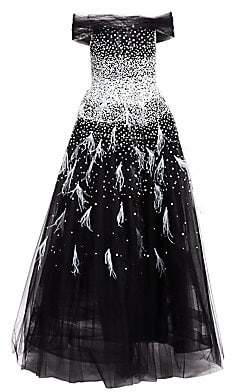 Pamella Roland Women's Embellished Sequin & Feather Off-The-Shoulder Tulle A-Line Gown