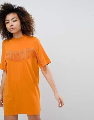 Monki Fringe T-Shirt Dress