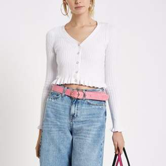 River Island Womens White frill knit cropped top