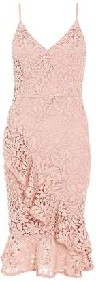Quiz Pink Lace Crochet Strap Frill Dress