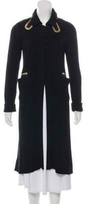 Prada Leather-Trimmed Longline Cardigan Black Leather-Trimmed Longline Cardigan