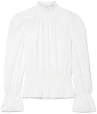 Frame Smocked Cotton-poplin Blouse - White