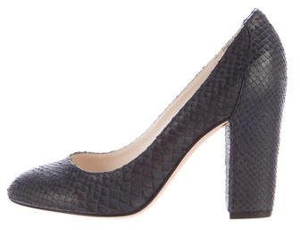 Christian Dior Round-Toe Snakeskin Pumps